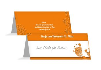 Taufe Tischkarte Footprints Orange 100x44mm