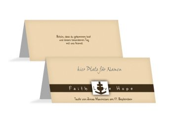 Taufe Tischkarte faith love hope Hellorange 100x44mm